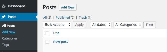 filter posts list subsubsub quicklinks